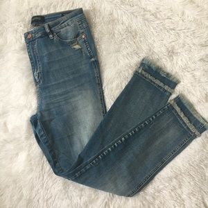 NWT BuffaloDavidBitton High Waist Frayed Hem Jeans